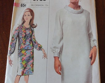 Misses Size 14 One or Two-Piece Dress Designer Fashion 60s Simplicity Pattern 6780