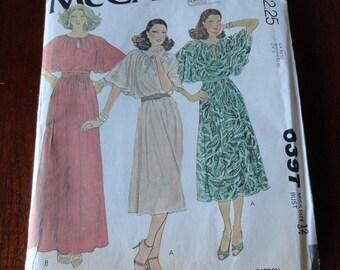 Vintage 70s McCalls 6397 Flutter Sleeve Dress and Slip Sewing Pattern size 12 B 34 UNCUT