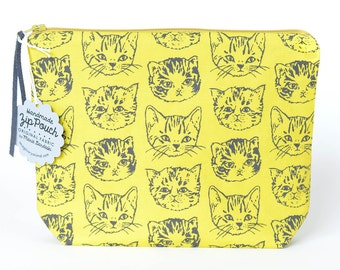 Cute Cats Medium Boxy Zipper Pouch | Original Fabric Design | Green-Gold Mustard