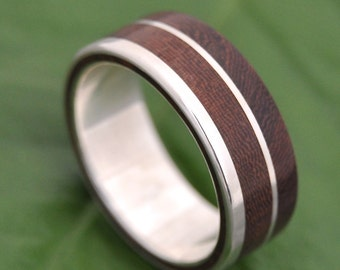 Size 6.5, 7mm  READY TO SHIP Un Lado Asi Wood Ring - ecofriendly wood wedding band, mens wood wedding ring, unique wooden ring