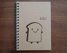 Bread Slice Hand-Stamped Kawaii Spiral Bound A6 Notebook