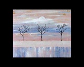 Was 225 Now 175,Original Art for Sale,Metal Artwork, Modern,Abstract Tree Art, Copper Painting,Landscape, Karina Keri-Matuszak, Winter Trees