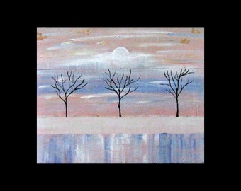 Original Art for Sale, Was 224 Now 145,Metal Artwork, Modern,Abstract Tree Art,Copper Painting,Landscape, Karina Keri-Matuszak, Winter Trees
