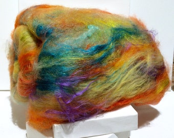 "fiber art batt, felting wool, spinning fiber, roving PHAT Fiber ""Radioactive"" yellow lime mint green teal orange purple coral salmon aqua"