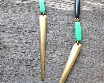 Mint and Black Dagger Earrings, Long Brass Earrings, Bead Dangle Earrings, 1970s Style Boho Jewelry