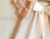 Pink and cream baby dress custom blessing, baptims, christening, portriat  3m,6m,9m,12m,18m Vintage Rose