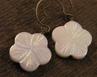 SALE White flower earrings carved on genuine shell beads and antique brass or silver handmade earrings