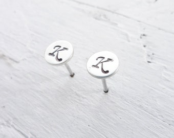 Monogram Stud Earring Initial Studs Sterling Silver Letter Earings Personalized Jewelry Same or Mismatched Initial Gifts for Bridesmaids