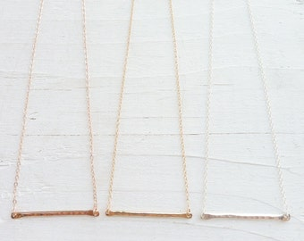 Trapeze Necklace Layering Necklaces Hammered Line Pendant Horizontal Bar Twig Charm Sterling Silver Rose Gold Gold Filled