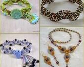 Micro Macrame PATTERN BUNDLE -  Fans - Necklace Earrings and 3 Bracelets