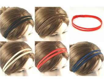 Silky Satin double hairband by loobyloucrafts ... Black, Brown, Red, Gold, Navy Blue