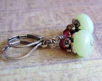 Mint Green Earrings Silver Plated Lever Back Ear Wire 9 x 6 mm Glass Dangle