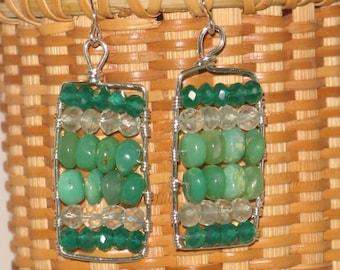 Sterling & Green Gemstones Abacus Earrings