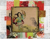 altered vintage japanese illustration woman with baby on mixed media collage : peaceful Japan.6