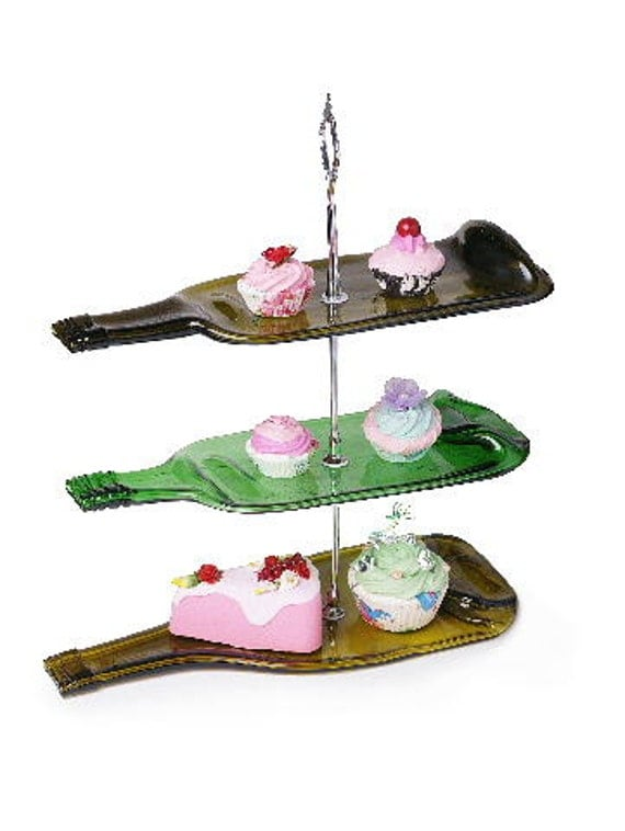 3 tier melted glass bottle cake stand