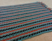 Baby Blanket Gray, Navy, Blue, and Orange Ready to Ship