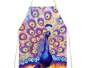 cute aprons for women with peacock fabric | purple blue and yellow