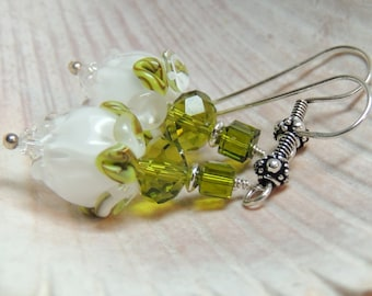 WHITE ROSES Handmade Lampwork Dangle Earrings Leverback Sterling Silver
