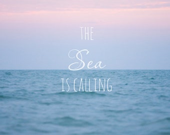 Fine Art Photo, Beach Print, Typography Art, Ocean Art, Sunset Photo, Pink, Blue, Sarasota, Florida Photograph, Sea, Spa Art, Square Print