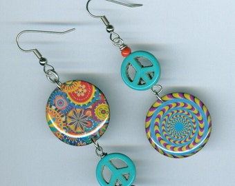 Optical illusion -  psychedelic - peace sign -  asymmetrical mismatched earring design