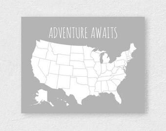 Husband Gift, Boyfriend Gift, Traveler Gift, United States Pin Map, Travel Map, Graduation Gift, Sentimental Gift DIY Pin Board Kit