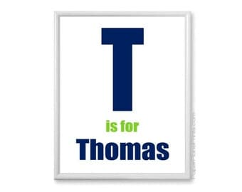 Personalized Kids Print, Name and Monogram, Nursery Decor, Baby Nursery Wall Art, Navy and Lime Green 11x14