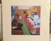 Bears Diner - matted print digital giclee on photo paper.