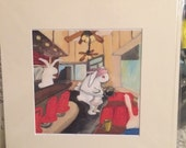 Coffee shop - matted print digital giclee on photo paper.