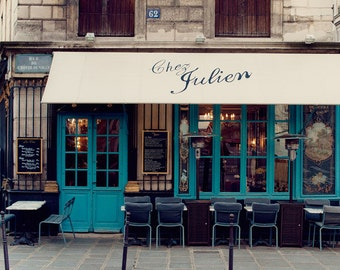 "French Kitchen Decor, ""Chez Julien"", Paris Photography, Kitchen Art Print, Paris Cafe, Blue White French Home Decor, 8x10, 20x24"