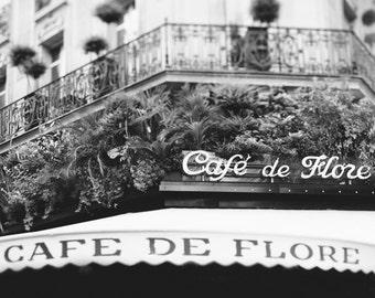 Paris Decor, Black and White Photography, Cafe de Flore Print, Paris Photography, Kitchen Wall Art, Black White Home Decor