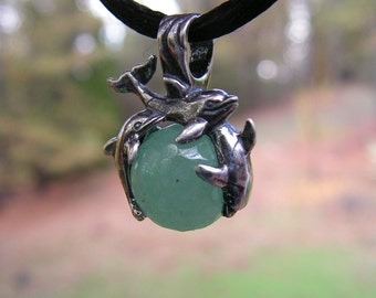 Sterling Silver Dolphins Pendant With Aventurine