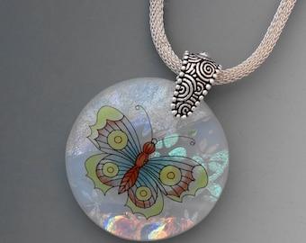 Round Translucent Butterfly, Round  Dichroic Fused Glass Pendant, Dichroic Butterfly Pendant, Dichroic Pendant - Round  Butterfly Pendant