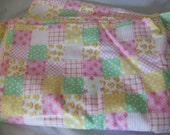 Pink Yellow and Green Rubber Duckie Cotton Flannel Fabric - Destash