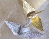 Gold Silver Renaissance  Peace Crane Bird Wedding Cake Topper Party Favor Origami Paper Christmas Ornament  Eco Friendly Stocking Stuffer