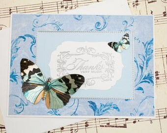 Butterfly Thank You Card, Handcrafted Thank You Card, 3D Thank You Card, Blank Thank You Card, Butterfly Card, Handmade Thank You Card