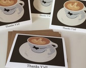 Texas Style Coffee Thank You Cards - Thanks, Y'all - Set of 4