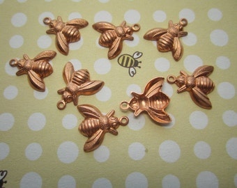 Baby Honey Bee Small COPPER Charms on Etsy x 8