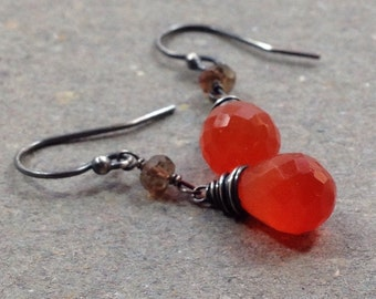Orange Carnelian Earrings Andalusite Oxidized Sterling Silver Gift for Her