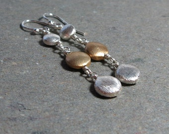 Silver and Gold Earrings Long Mixed Metals Brushed Beaded Drops Gift for Her