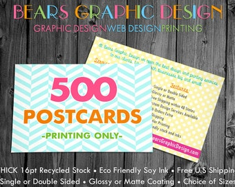 Postcard Printing, 500 Postcards, Full Color Printing, Matte Postcards, Glossy Postcards, Display Cards for Jewelry, Hair Bows