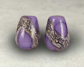 Teardrop Purple Lampwork Glass Bead Pair with Organic Web Small Amethyst