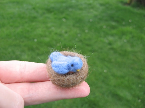 Needle Felted Miniature Bluebird Tiny Figurine
