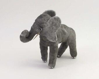 Vintage Inspired Spun Cotton Gray Elephant Ornament/Figure