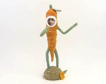 Vintage Inspired Spun Cotton Carrot Child Figure