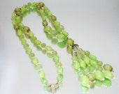 1960's Lime Green Tassel Necklace Plastic Beads