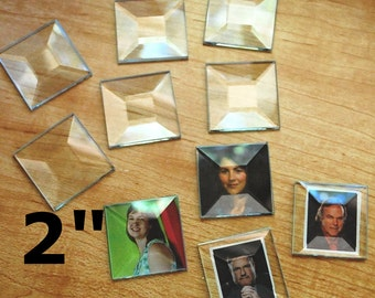 Memory Glass 2 inch Squares (Box of 30) Solder Art Pendant Clear Glass. 2 x 2 SQUARE BEVEL FLAT on back side.