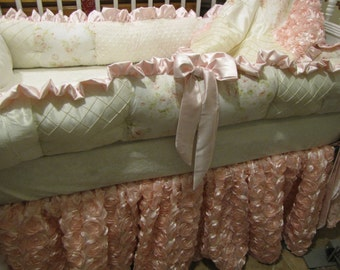 Custom Crib set Ivory and Pink Floral with Rosette Girls Bedding