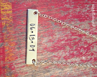 personalized name bar necklace-custom gold bar name/date necklace-personalized gold bar rectangle necklace