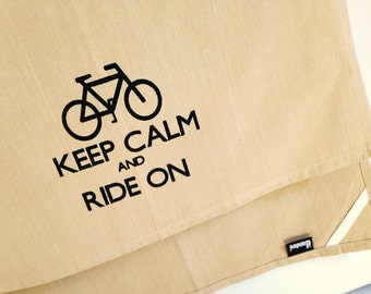 Keep Calm and Ride On kitchen dish towel. Silk screened cotton tea towel.
