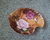 Lefton Hand Painted brown Heritage Roses candy nut dish Home and Living Dining and Serving